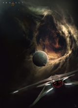 Ship approaching a planet with a small moon inside a nebula